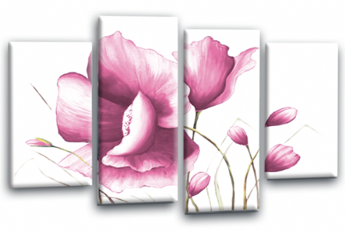 Pink White Flower Canvas Wall Art Floral Painting Picture Print Split Panel